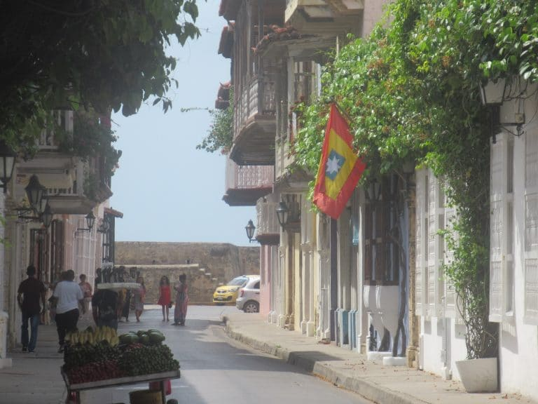 Street in Cartagena, Colombia with Cartagena flag