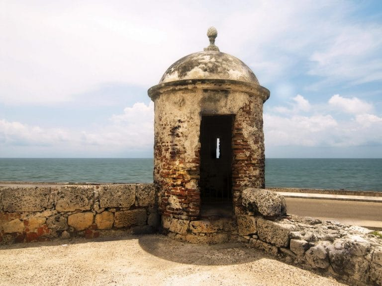 Photo of a guardpost atop the wall in Cartagena, Colombia