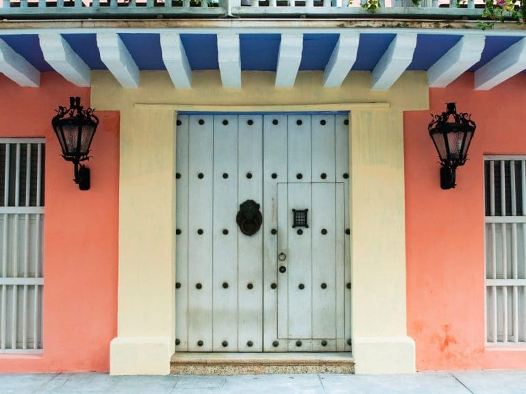 Photo of a colonial door in Cartagena, Colombia