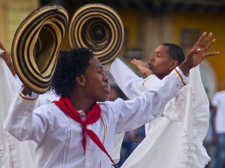 Photo of a guy dancing in Cartagena, Colombia