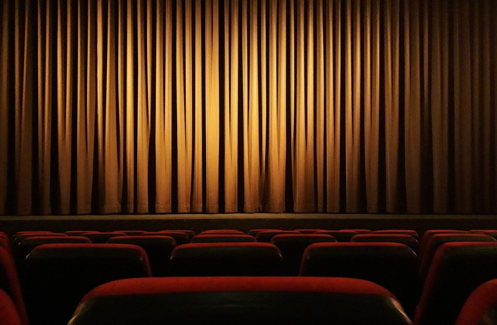 Photo of a curtain in a theater, like you might see at the Cartagena Colombia Film Festival.