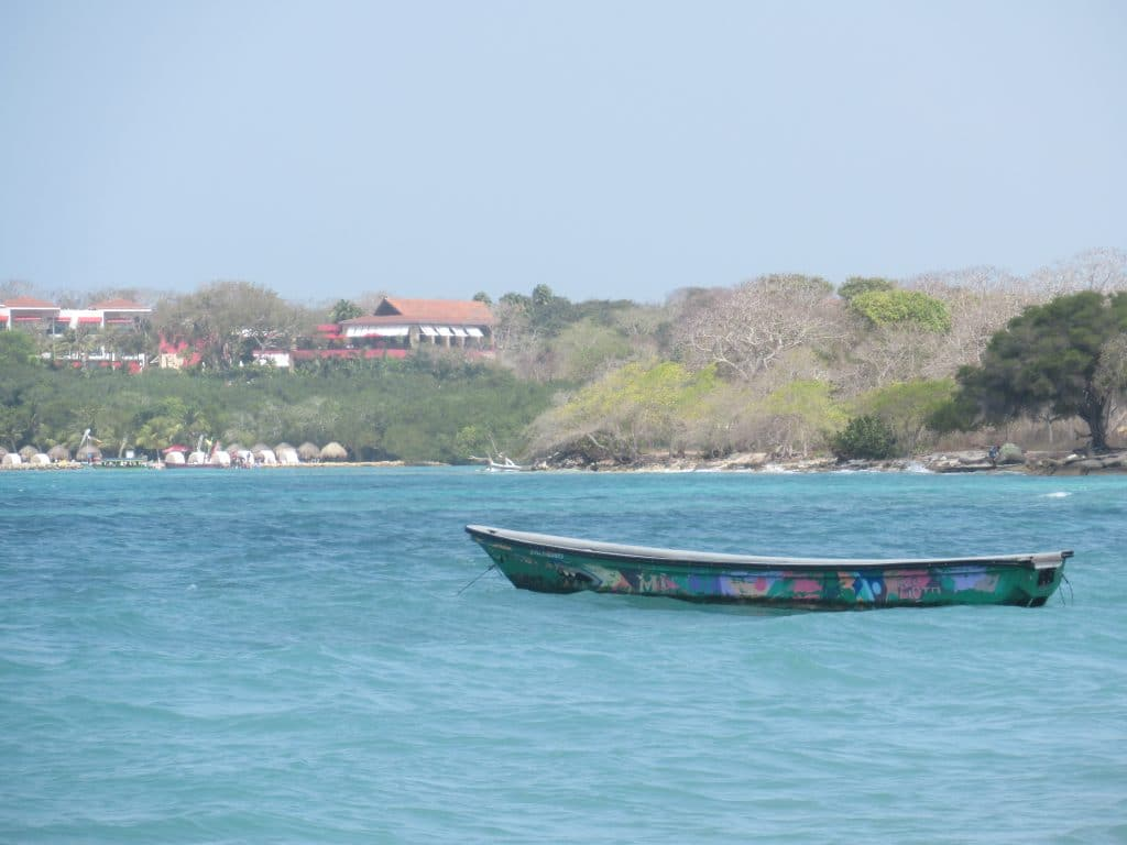 Photo of a boat in the water at Playa Blanca