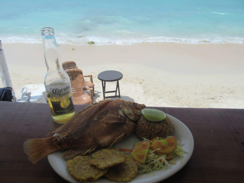 Photo of a fish plate with the beach in the background at the Playa Blanca Shuttle Bus from Cartagena partner's restaurant.