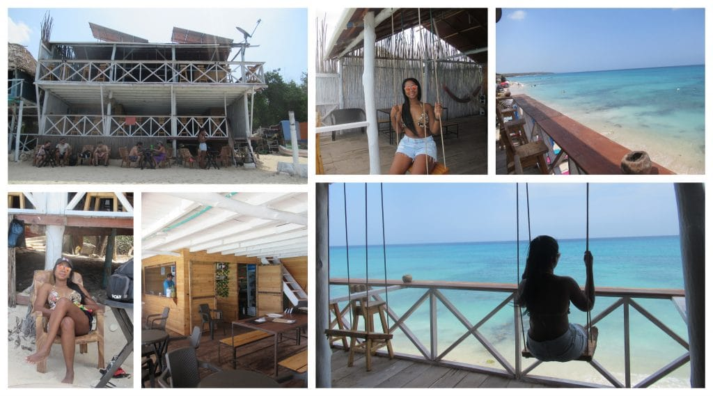 Collage of photos at Ocean Blue Beach Bar, the Cartagena Playa Blanca Shuttle Bus partner restaurant at the beach.