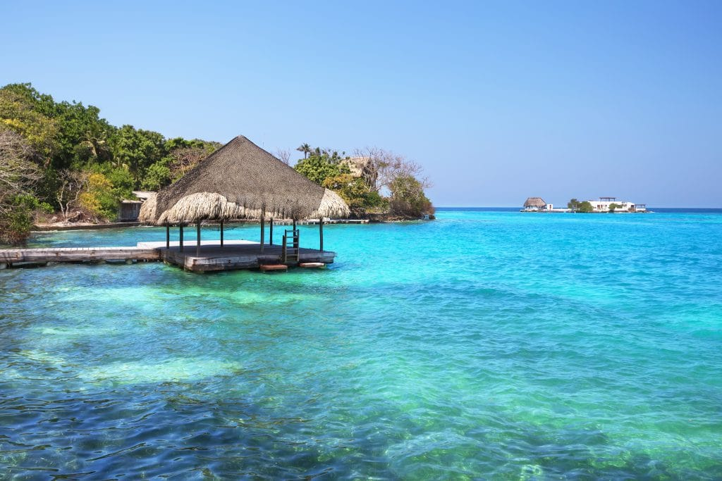 Photo of a small covered area on the end of a dock in the Rosario Islands, a great are for Cartagena, Colombia beaches.