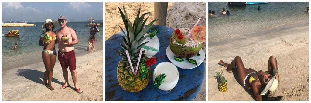 Collage of drinks in coconuts and pineapples.