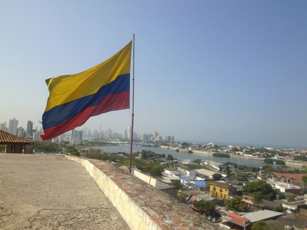 Photo of the Colombian flag over Cartagena