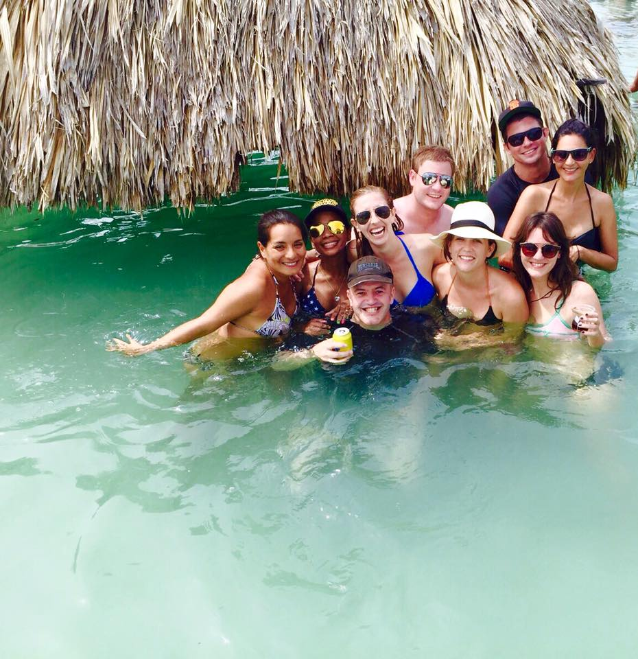 Group of people in the water at Cholón Island Cartagena.