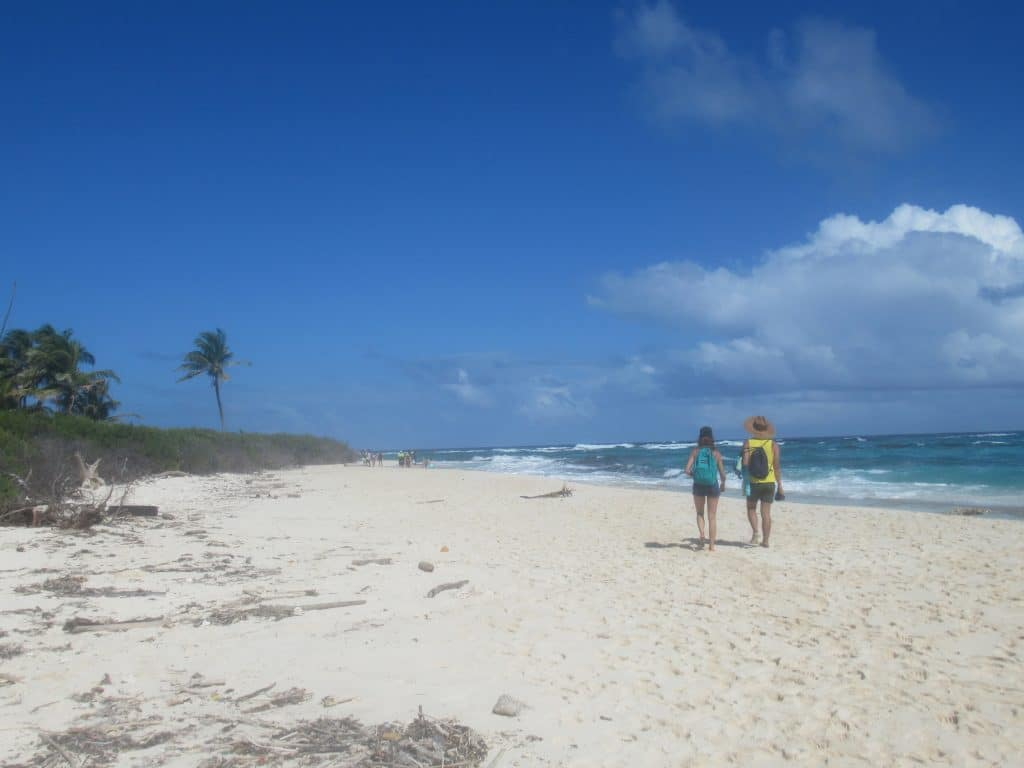 Photo of one of the top beaches of San Andres, Colombia, on the island of Johnny Cay with two people walking along the beach.