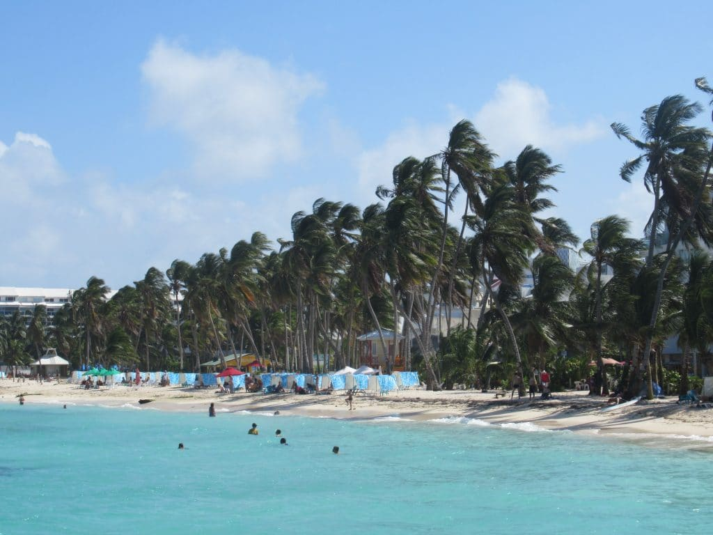 Photo of a beach front in downtown San Andres Island, Colombia
