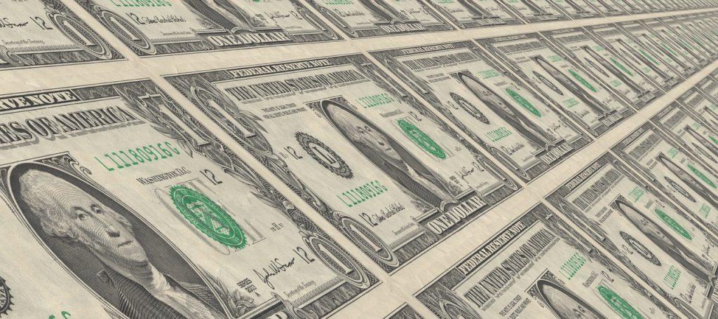 Photo fo 1 dollar bills printing.
