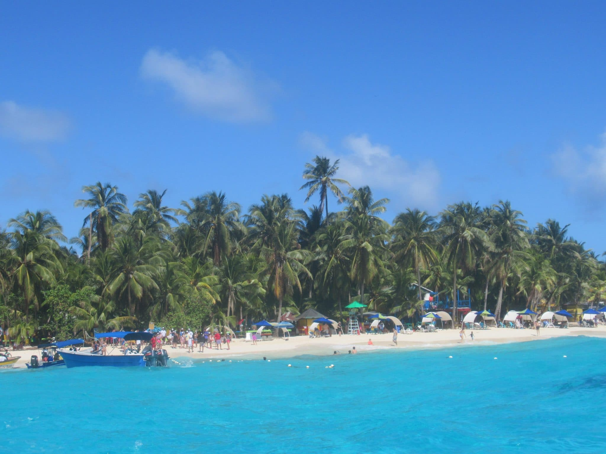 Photo of the beach front at Johnny Cay near the island of San Andres.