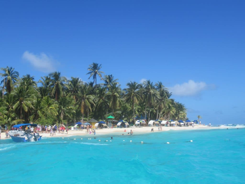Photo of the beach front at Johnny Cay island from San Andres.